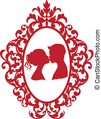 kissing couple in frame