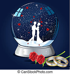 Kissing Couple in Glass Globe - illustration of couple...