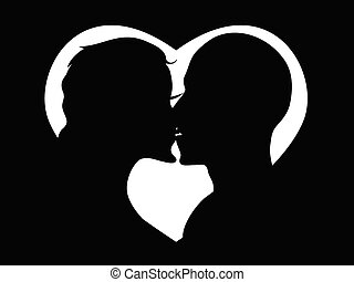 kissing couple in heart