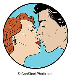 kissing couple in retro style - kissing love beautiful...