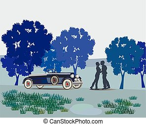 kissing couple in the park Valenti