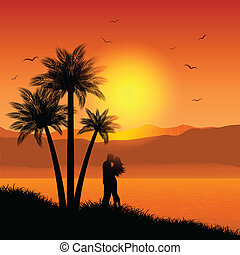 Kissing couple in tropical landscape - Silhouette of a...
