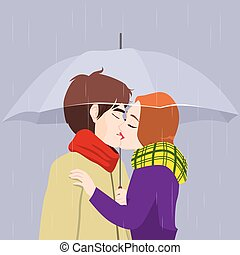 Kissing Couple Under Umbrella