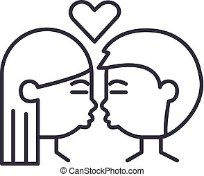kissing couple vector line icon, sign, illustration on background, editable strokes