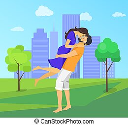 Kissing Couple with Skyscrapers on Background