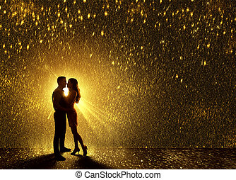 Kissing Couples Silhouette, Contour of Young Couple Falling in Love, Valentine s Dating Kiss