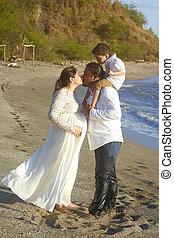 Kissing hispanic family