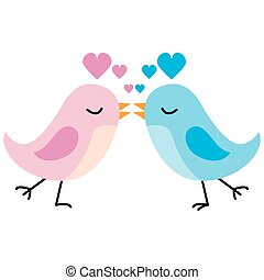 Kissing Love Birds - An image of a two cartoon birds kissing...