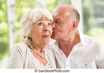 Kissing on the cheek