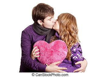 kissing., par, tiro., estúdio