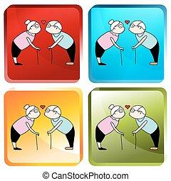 Kissing Senior Couple