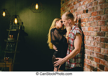 Kissing sexy woman