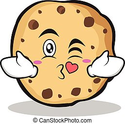 Kissing sweet cookies character cartoon