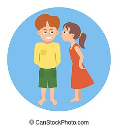 kissing toddlers vector cartoon