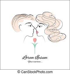 kissing vector drawing