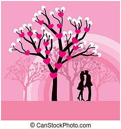 Kissing - Vector illustration of lovers kissing under a love...
