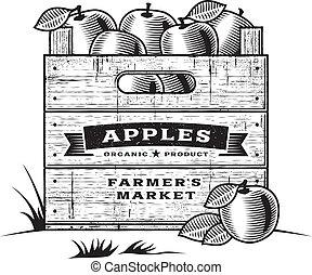 kiste, b&w, retro, äpfel