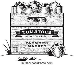 kiste, b&w, retro, tomaten