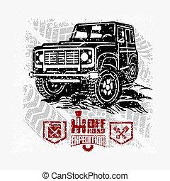 kisteherautó, autó, 4x4, út, el, csereüzlet, suv, -