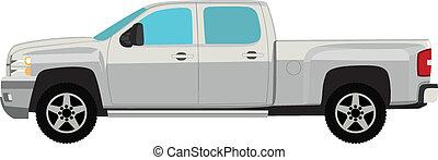 kisteherautó, elszigetelt, ábra, vektor, csereüzlet, fehér