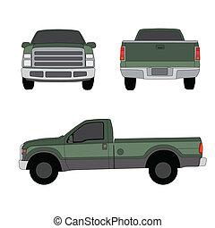 kisteherautó, három, ábra, vektor, csereüzlet, zöld, szegély...