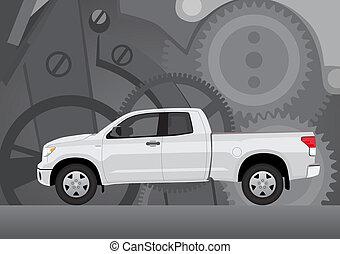 kisteherautó, társaság, csereüzlet, háttér
