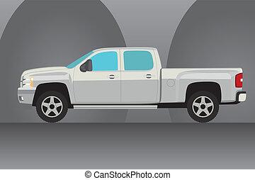 kisteherautó, vektor, csereüzlet, ábra