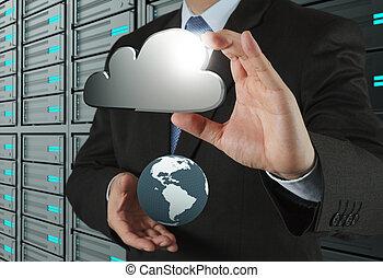 kiszámít, ábra, számítógép, határfelület, új, felhő