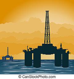 kitépés, bástya, olaj, tenger