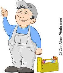 kitérővágány, munkás, tapogat