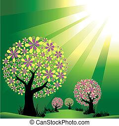 kitörés, fény, elvont, bitófák, zöld háttér