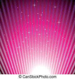 kitörés, fény, szikrázó, csillaggal díszít, fukszin, fényes