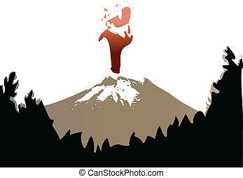 kitörés, vulkán