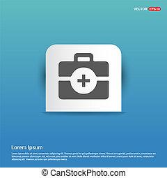 kit, bleu, -, icône, monde médical, autocollant, bouton