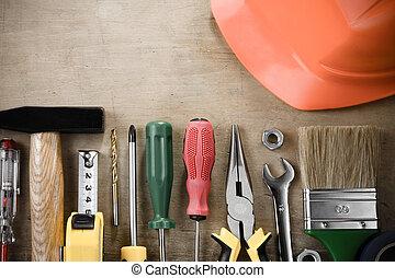 kit, de, construcción, herramientas, en, madera