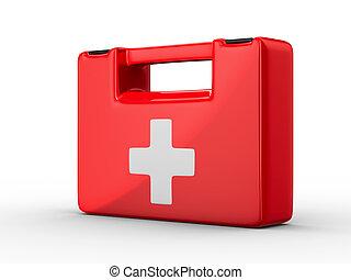 kit de primeros auxilios, blanco, fondo., aislado, 3d, imagen