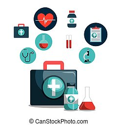 kit icons healthcare medicine design isolated