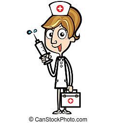 kit, jeringuilla, ayuda, enfermera, caricatura, primero