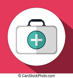 kit médical, conception, icône