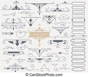 Kit of 55 Vintage Elements for Invitations, Banners, Posters, Pl