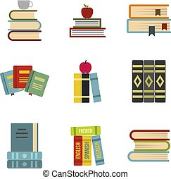 Kit of books icon set, flat style