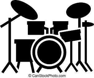 kit, tambour, icône