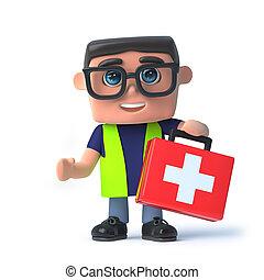 kit., transporter, säkerhet, hälsa, tjänsteman, bistånd, 3, första