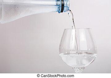 kitakarít, önt, víz, grass., palack, ásvány