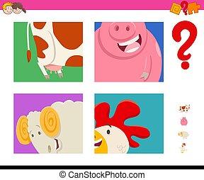kitalál, állatok, tanya, karikatúra, játék, gyerekek