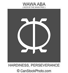 kitartás, jelkép, wawa, afrikai, aba., hardiness, adinkra, ikon