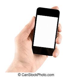 kitart mobile, furfangos, telefon, alatt, kéz