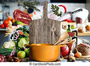 Kitchen a large wood board