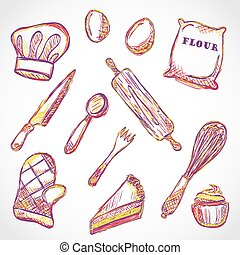 Illustration of kitchen accessories and food - doodle style