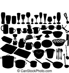 kitchen shut oneself off on white background accessories, vector illustration